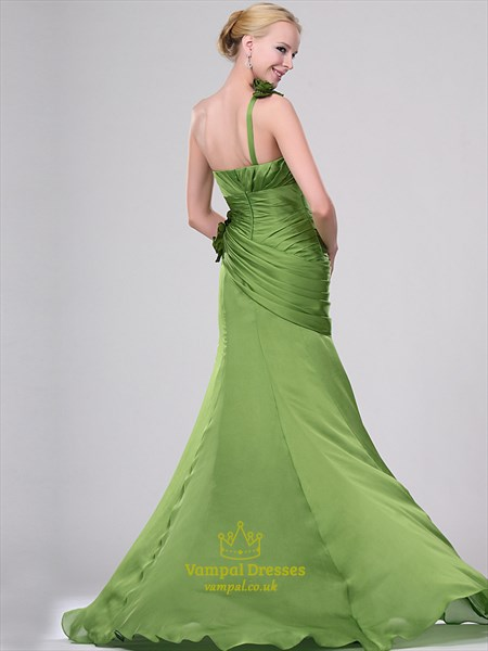 A Line Lime Green One Shoulder Ruched Chiffon Prom Dress With Flowers