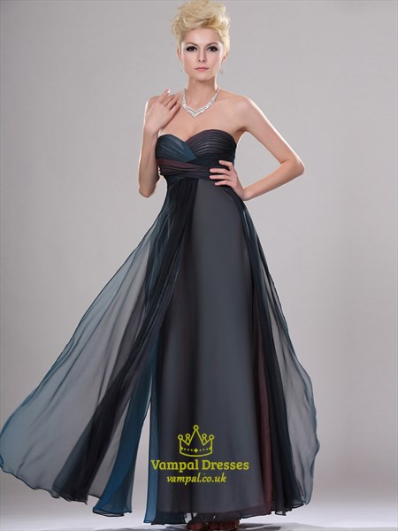 Navy Blue Strapless Sleeveless Ruched Floor Length Chiffon Prom Dress