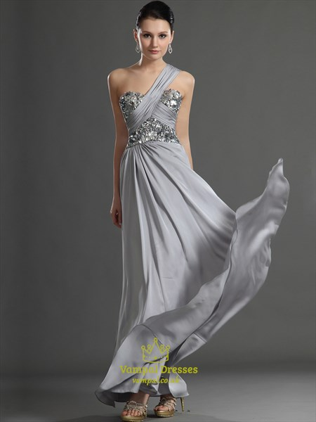 Grey One Shoulder Sleeveless Ruched Long Prom Dress With Sequin Top