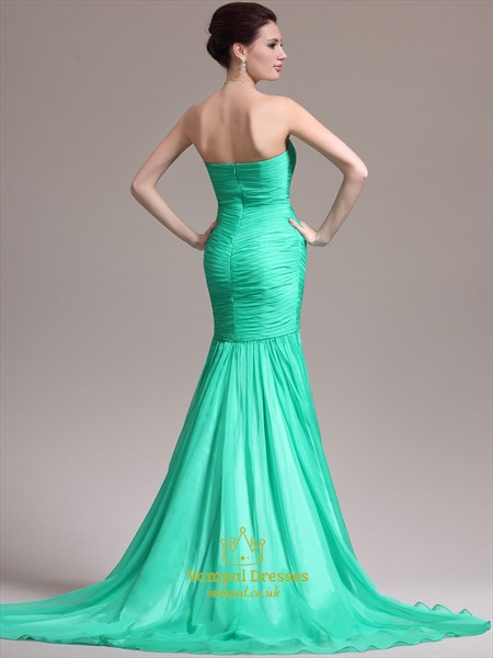 Turquoise Strapless Ruched Bodice Sheath Prom Dresses With Train