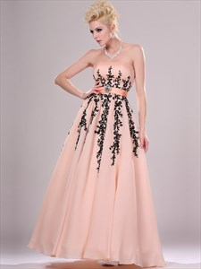 Elegant Blush Pink Strapless Sleeveless Beading Applique Prom Dress