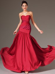 Red Sweetheart Sleeveless Beaded Floor Length Sheath Prom Dress