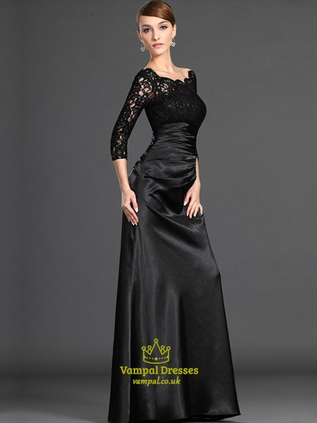 Black Off The Shoulder Long Sleeve Ruched Lace Top Taffeta Prom Dress