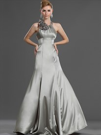 Simple Silver Halter Neck Sleeveless Long Prom Dress With Flowers