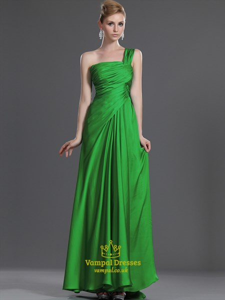 A Line Lime Green One Shoulder Sleeveless Ruched Chiffon Prom Dress