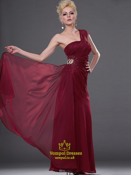 Burgundy One Shoulder Sleeveless Beaded Ruched Long Prom Dress
