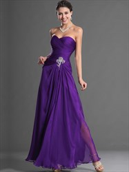 A Line Purple Sweetheart Sleeveless Ruched Chiffon Prom Dress