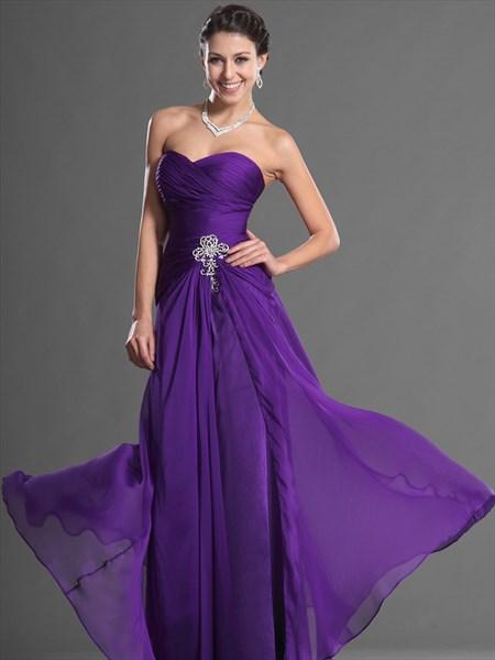 A Line Purple Sweetheart Sleeveless Ruched Chiffon Prom Dress