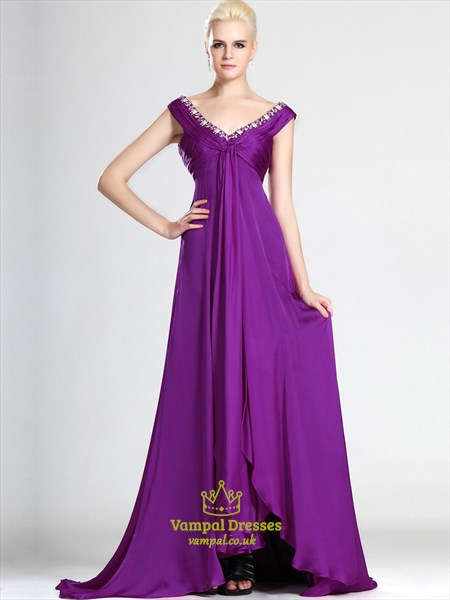 Purple V Neck Sleeveless Beaded Ruched Floor Length Prom Dress