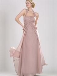Blush Pink Halter Neck Ruched Bodice Sleeveless Floor Length Dress