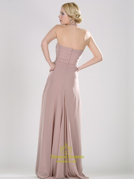 Blush Pink Halter Neck Ruched Bodice Sleeveless Floor Length Dress