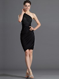 Simple Black One Shoulder Ruched Sheath Sleeveless Short Prom Dresses