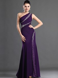 Elegant Purple One Shoulder Beaded Ruched Sheath Chiffon Prom Dress