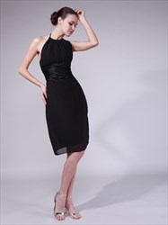 Black Halter Neck Sleeveless Sheath Chiffon Short Homecoming Dresses