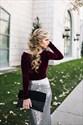 Elegant Two Tone Long Sleeve Sequin Skirt Floor Length Prom Dress