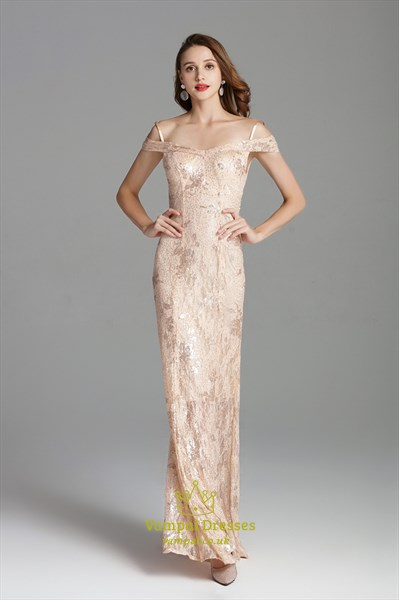 Off The Shoulder Champagne Lace Overlay Dresses With Spaghetti Straps