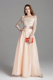 Champagne Off The Shoulder Embellished Long Prom Dress With Side Split