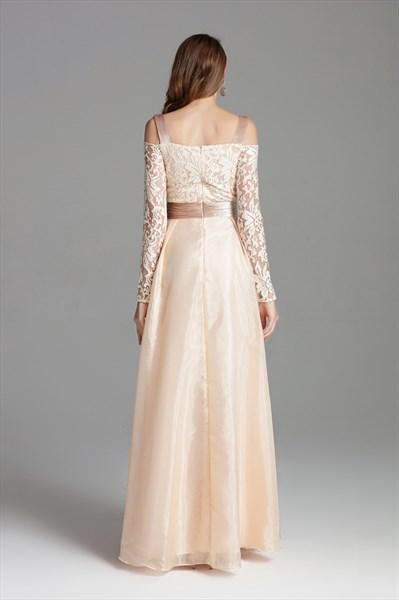 Champagne Off The Shoulder Embellished Long Prom Dress With Side Split