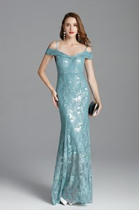 Mermaid Off The Shoulder Lace Overlay Prom Dress With Spaghetti Straps