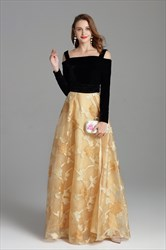 Velvet Off The Shoulder Floral Print Party Dress With Long Sleeves