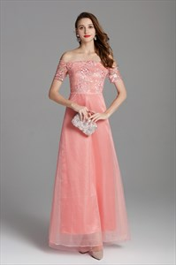 Off The Shoulder Organza Floral Embroidered Dress With Short Sleeves