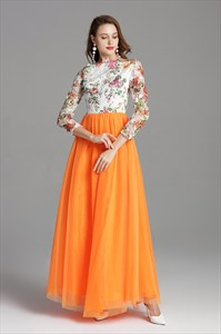 Floor Length Prom Dress With Lace Embellished Bodice And Long Sleeves