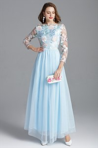 Off The Shoulder Long Sleeved Embellished Prom Dress With Lace Bodice