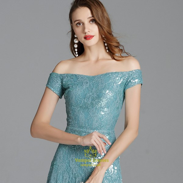 Teal Off The Shoulder Lace Overlay Long Prom Dresses With Side Split