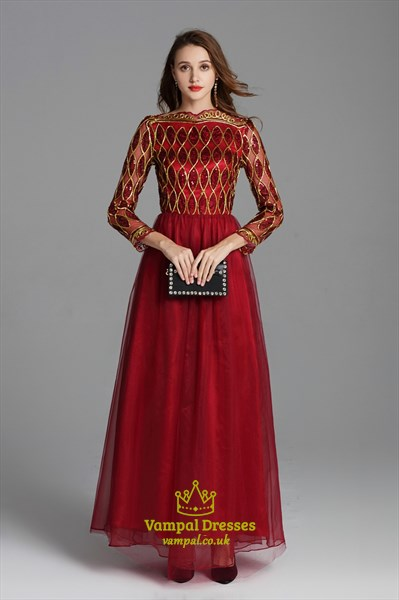 Burgundy Sequin Embellished Floor Length Prom Dress With Long Sleeves