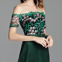 Emerald Green Off The Shoulder Lace-Bodice Prom Dresses With Sleeves