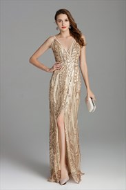 V Neck Champagne Long Sequin Side Slits Formal Prom Dress With Straps