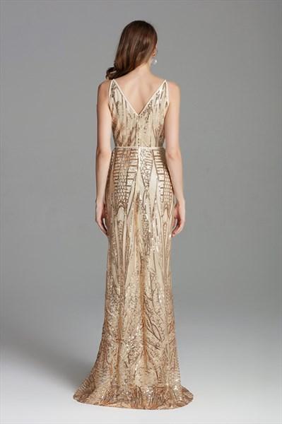 V Neck Champagne Long Sequin Side Slits Formal Prom Dress With Straps
