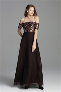 Brown Off The Shoulder Sequin Long Bridesmaid Dress With Short Sleeve