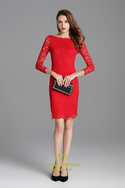 Classic Red Lace Overlay Sheath Short Cocktail Dress With 3/4 Sleeves