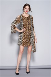 Asymmetric Leopard Print Chiffon Short Party Dresses With Long Sleeves