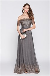 Grey Embroidered Off The Shoulder Tulle Prom Dress With Short Sleeves