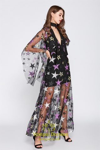 V-Neck Embroidered Star Short Prom Dress With Long Sheer Overlay