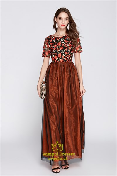 Orange Short Sleeves Tulle Gown With Floral Embroidered Lace Bodice