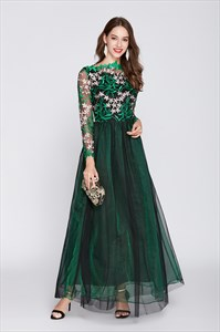 Emerald Green Floor Length Prom Dress With Lace Bodice And Long Sleeves