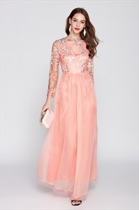 Peach Floral Embroidered Tulle Bridesmaid Dresses With Lace Sleeves
