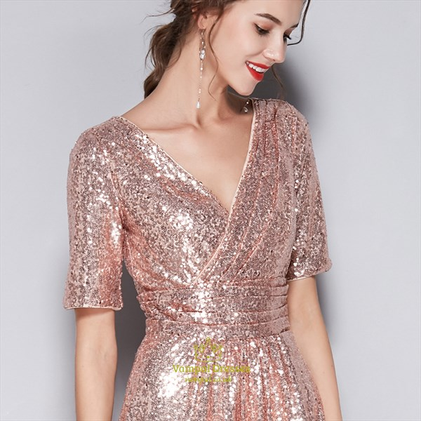 Pink V-Neck Sequin Short Sleeves Bridesmaid Dress With Sash Ruched