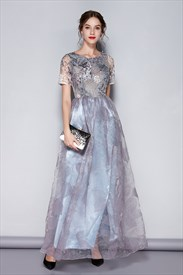 Grey Embroidered Floral Print Bridesmaid Dresses With Short Sleeves