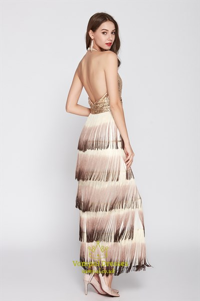 Gold Champagne Sequin Tassel V Neck Halter Tiered Ruffle Prom Dresses