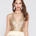 Gold Champagne Sequin Tassel V Neck Halter Tiered Ruffle Prom Dresses