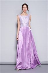 Lilac Sleeveless Lace Embellished Prom Dresses With Slits Up The Side