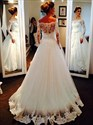 Ivory Lace Bodice Ball Gown Wedding Dress With Sheer Long Sleeve