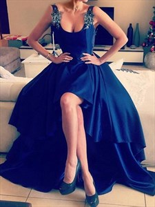 Royal blue scoop neck high low prom dress with open back