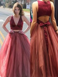 Burgundy A Line V Neck Keyhole Back Tulle Long Two Piece Prom Dress