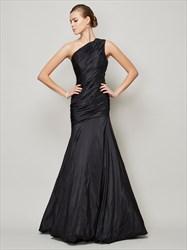 One Shoulder Ruched Bodice Drop Waist Mermaid Long Formal Dress