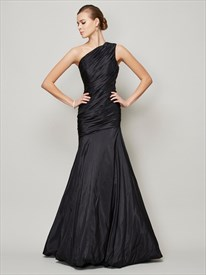 One Shoulder Ruched Bodice Drop Waist Mermaid Long Formal Dress